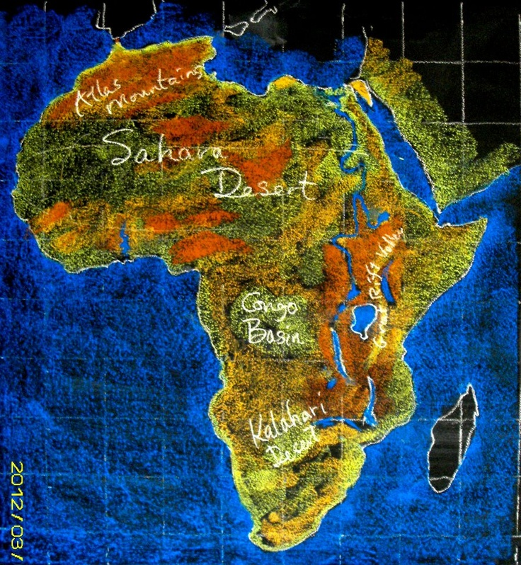 Waldorf ~ 7th grade ~ Geography ~ Africa ~ chalkboard drawing