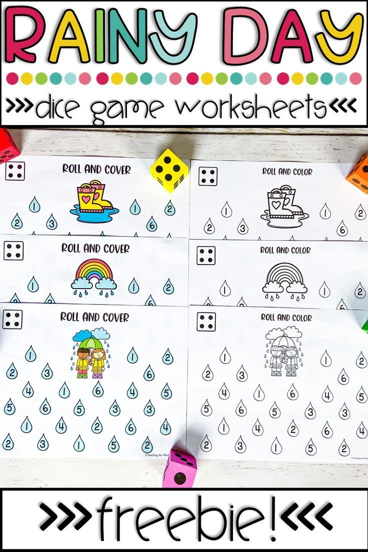 Dice Game Math Worksheets Spring Rain Number Recognition Roll And Color Cover Dice Math Games Math Worksheets Preschool Math Worksheets [ 1104 x 736 Pixel ]