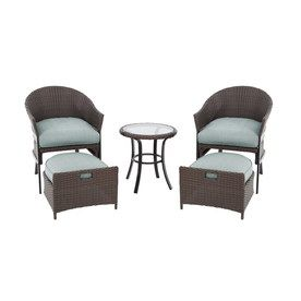 Perfect Garden Treasures 5 Piece South Point Brown Steel Patio Conversation Set  With Solid Blue