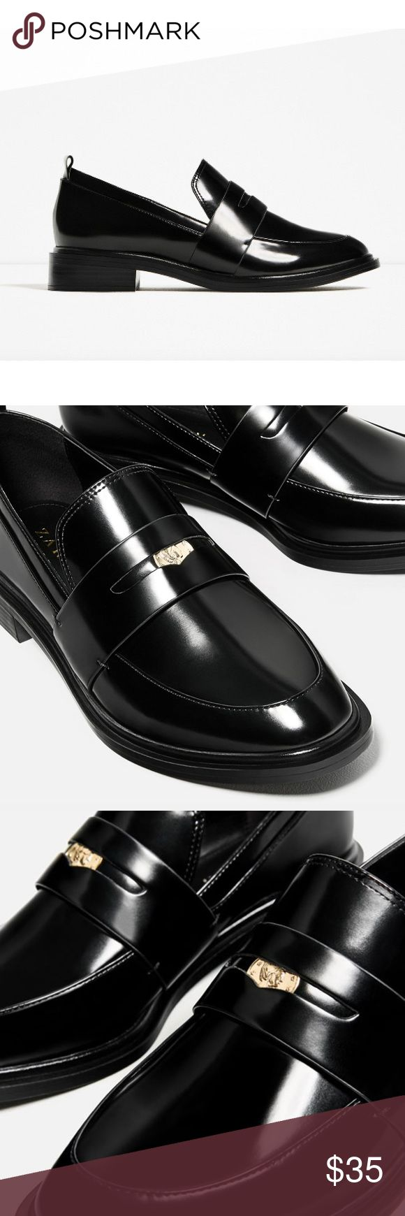 ZARA Black Penny Loafers ZARA black penny loafers! New with tags + never worn. Super cute coin detail and chunky heel. 100% polyurethane. Zara Shoes Flats & Loafers