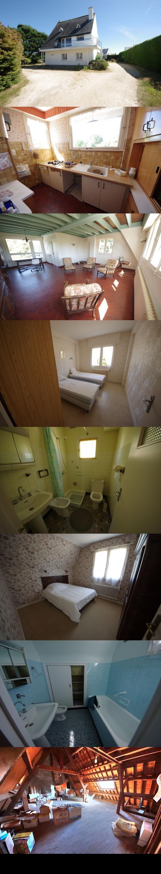 maison 5 pieces 144 m2 ST PIERRE QUIBERON Baie  Cote baie, proche des plages,  maison des annees 60 en impasse implantee sur un terrain de 770 m2 environ offre au rdc : entree, 3 chambres, salle d'eau + wc, buanderie, garage. A l'etage : cuisine, beau sejour lumineux, chambre, salle de bains, wc. Au 2eme etage : combles a amenager.  dont 4.50 % honoraires TTC a la charge de l'acquereur.