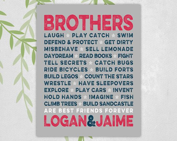 brothers wall art - navy, red and gray twin boys nursery or playroom decor - brothers names - print or canvas
