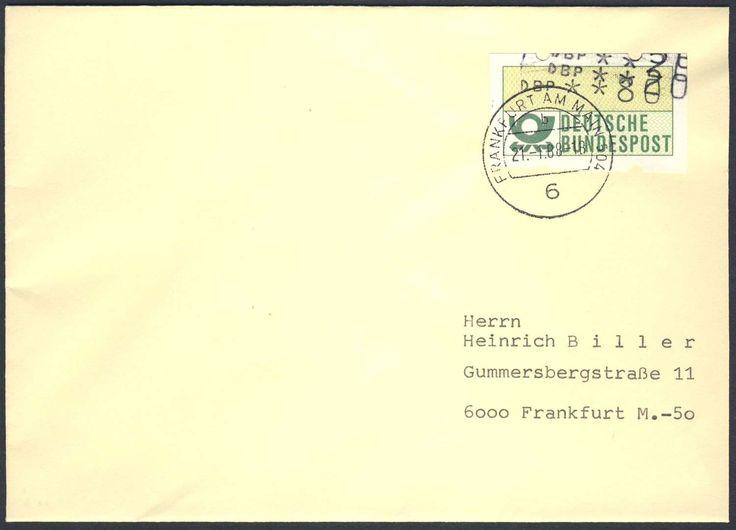 Germany, ATM 21.01.1988, Bund, Automatenmarken, 80 Pfg,.+20+20) ATM mit Mehrfacheindruck auf Ortsbrief von Frankfurt/M. Price Estimate (8/2016): 15 EUR.