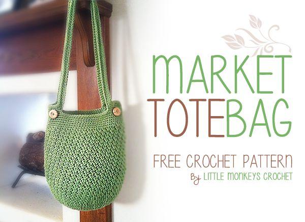 Market Tote Bag Free Crochet Pattern | by Little Monkeys Crochet