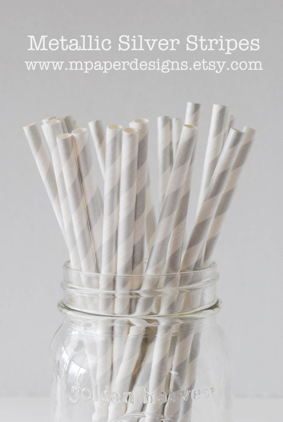 Metallic Silver Striped Paper Straws - 25 pack  // party supplies / stripe / silver / bridal / wedding / baby shower
