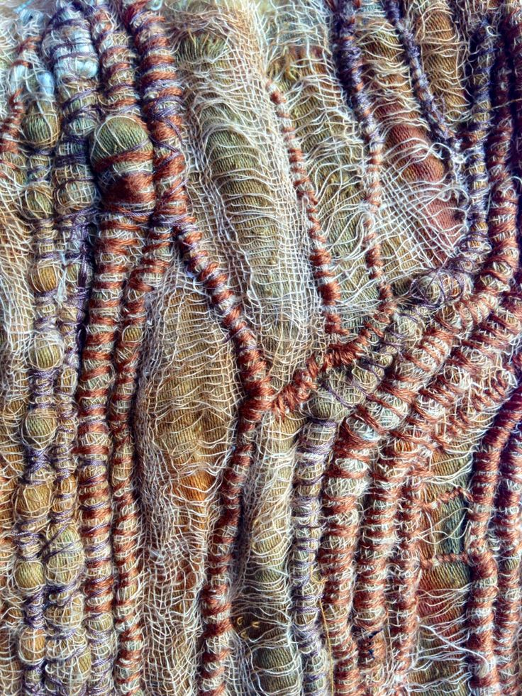 Julia Wright fabric manipulation and couching with hand stitch and rust dying