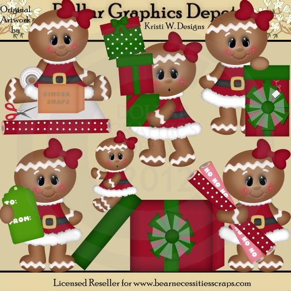 All Wrapped Up Christmas Gingers - *DGD Exclusive* - Created by Kristi W. Designs - Great for printable crafts, scrapbooking, web graphics, embroidery patterns, cutting files, and more! www.DollarGraphicsDepot.com