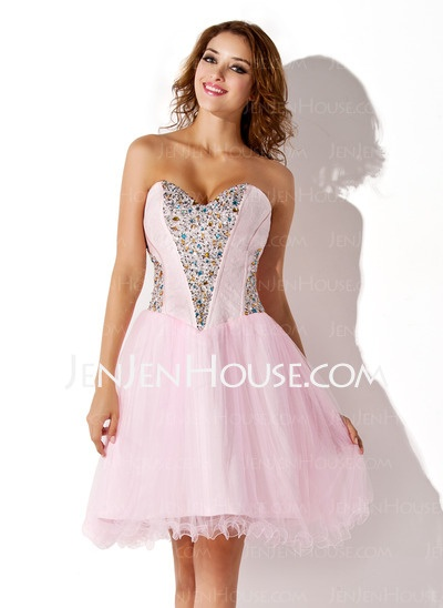 Homecoming Dresses - $135.99 - A-Line/Princess Sweetheart Short/Mini Satin  Tulle Homecoming Dresses With Beading (022010389) http://jenjenhouse.com/A-line-Princess-Sweetheart-Short-Mini-Satin--Tulle-Homecoming-Dresses-With-Beading-022010389-g10389