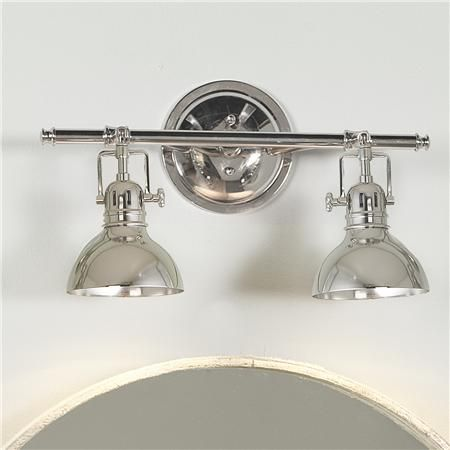 "Pullman Bath Light - 2 Light - polished nickel - $155  Every age will need to have this clever rail light in the bath or over the bed! Steel with rotating shades (up and down only), finished in Polished Nickel or Bronze. Backplate measures: 6"". Bottom of shade measures: 4.37"". Can mount on the ceiling (height from ceiling is 11.25""). 2x50 watts (bulbs included). (11.5""Hx16""Wx8""D)"