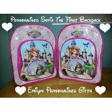 Lovely and Personalised Sofia the first backpack with front pocket £9.50 plus p+p (Personalised with fabric paint and covered in a fixing solution)
