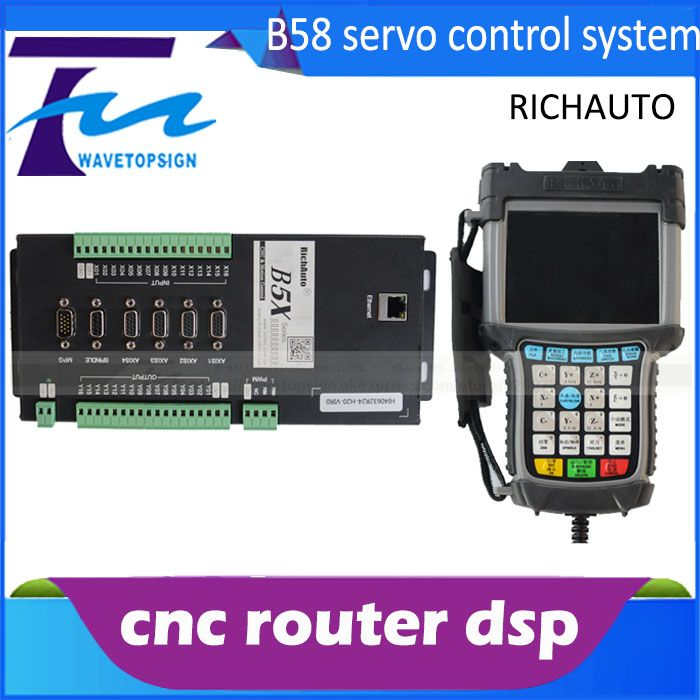 4  axis cnc dsp controller  B58 support servo motor DSP B58 support I/O port max 64 data web transfer 5 inch color screen