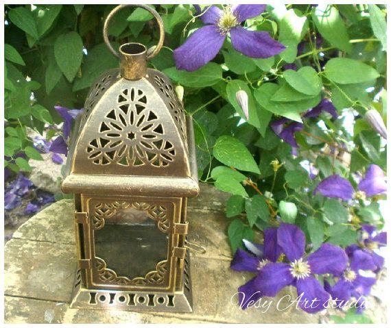 Moroccan Lantern Rustic lantern Wedding Candle by VesyArtstudio