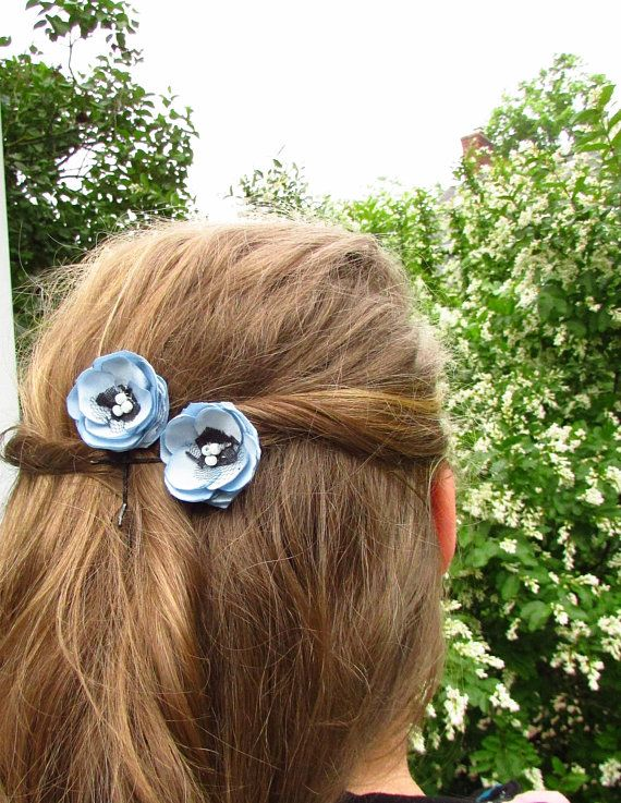 Dusty Blue Hair Accessories Set Of 2 Pale Light Blue Floral Hair