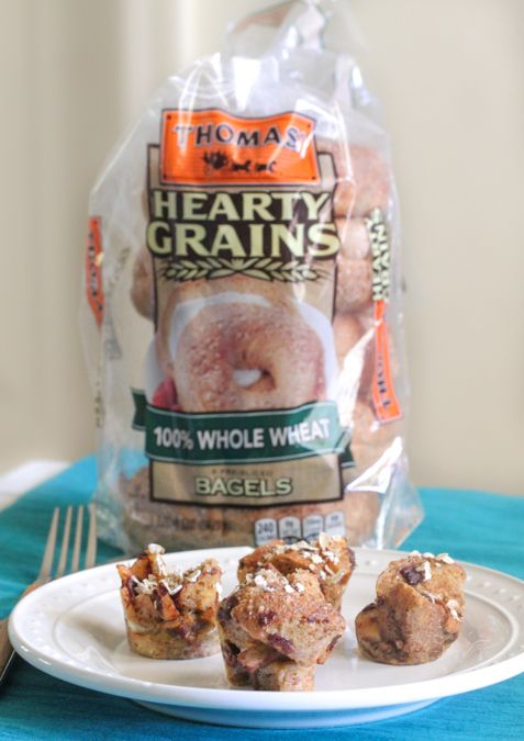 Apple Cinnamon Bagel Bites: Whip up this sweet snack from Picky Palate for little bites your kids will crave: dice Thomas' 100% Whole Wheat Bagels into ½ inch pieces and mix with brown sugar, cinnamon and apples. Spoon the mixture into muffin tins and bake until set.