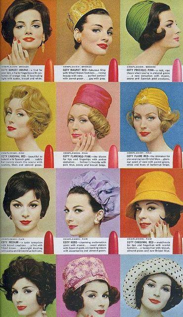 1960s vintage fashion cosmetics makeup hats style