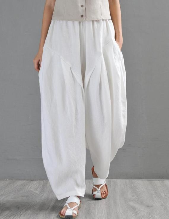 Linen Loose Pants for Women,Casual Wide Leg Solid Color Ruffle Hem Elastic Waisted Trousers