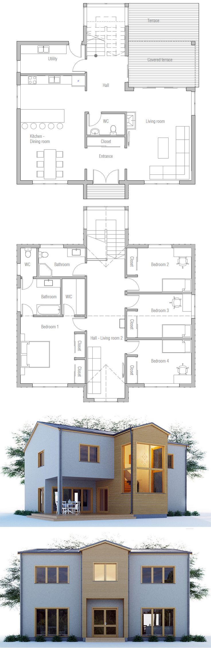 Floor Plan - like the stair layout, but move the 1st floor bathroom so that it's next to the utility room