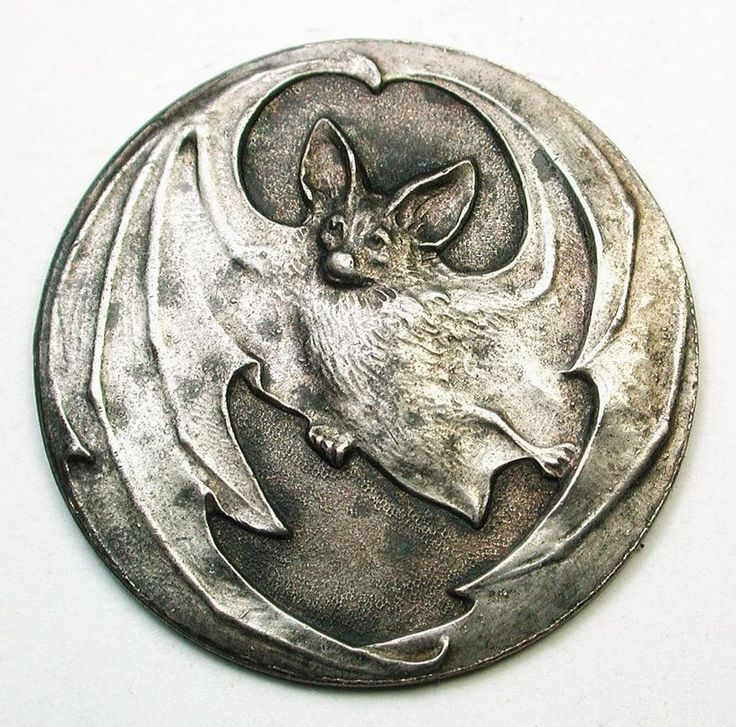 Old French Metal Button Art Nouveau Flying Bat.