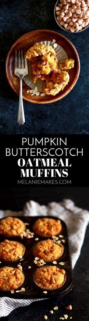These four ingredient Pumpkin Butterscotch Oatmeal Muffins are perfect when paired with your morning cup of coffee or a great after school treat. Pumpkin puree, milk and butterscotch chips are stirred into homemade muffin mix to create the quickest and easiest muffins around.