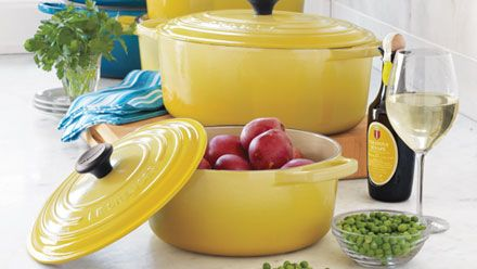 Introducing  Le Creuset Soleil  New Color, Only at Sur La Table.  Easy-to-Clean Enamel Interior,  Larger Handles for Secure Grip,  Redesigned Snug-Fit Lid,  Knob Oven Safe to 500°,  Hand-crafted.