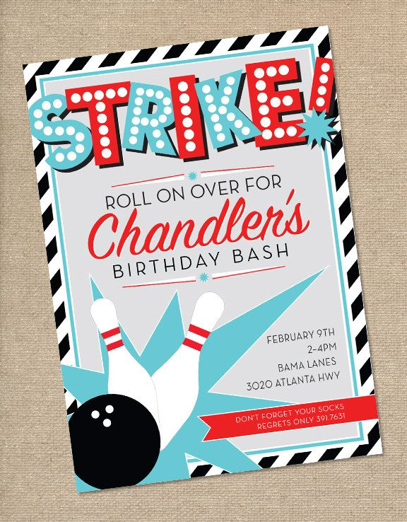 best 25+ bowling party invitations ideas on pinterest | bowling, Party invitations