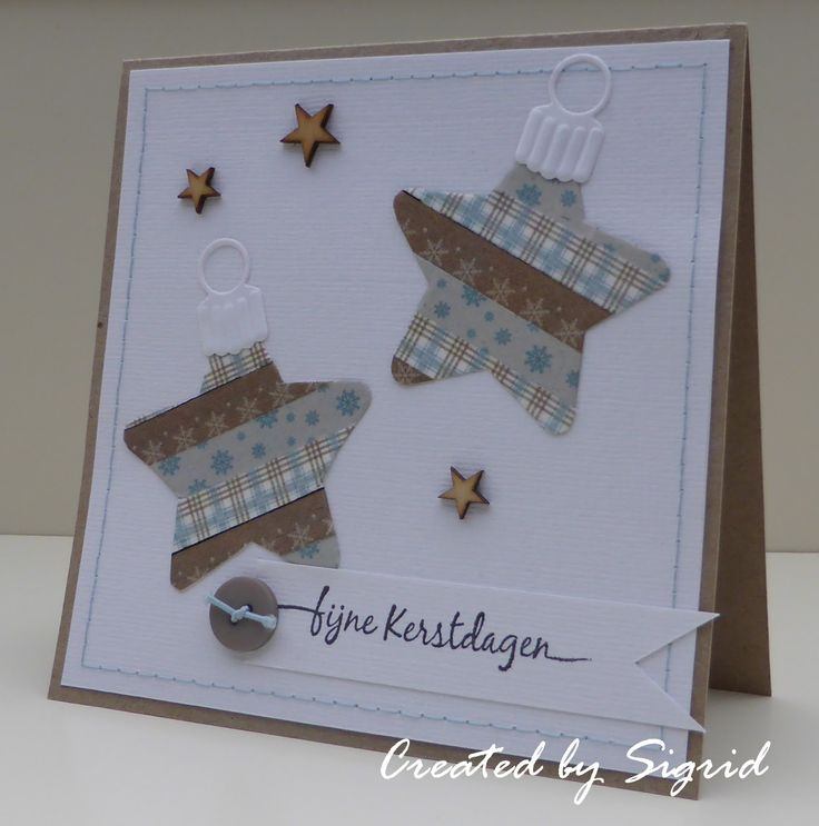 Card made by DT member Sigrid with Collectables Christmas Star (1360) and papertape by Marianne Design