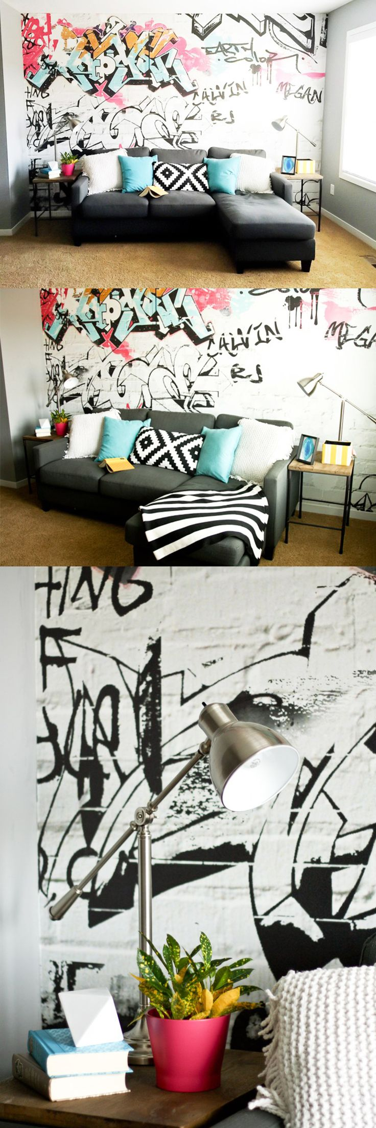 251 best images about urban art interiors on pinterest for Graffiti style bedroom designs