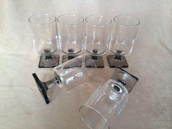 Danish Wine Glasses, Federal Glass, Nordic Midnight, Smoke Square Base, Danish Modern Design, 60s Scandinavian,