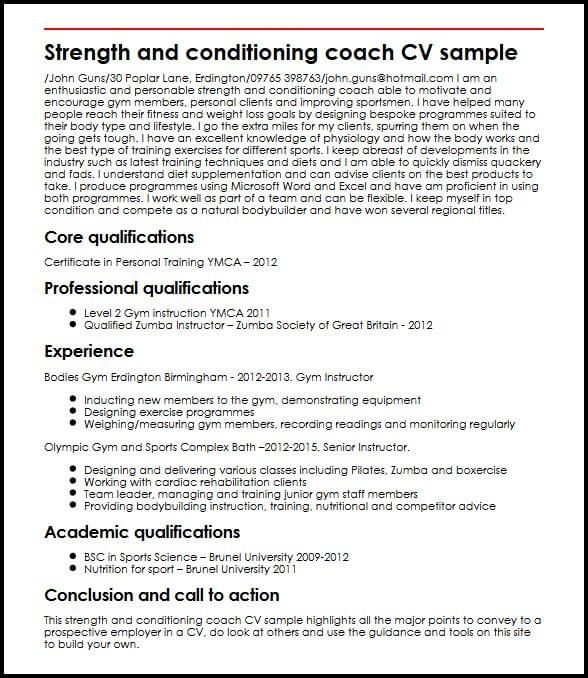 Strength And Conditioning Coach Cv Sample Myperfectcv Strength And Conditioning Coach Resume Examples Resume