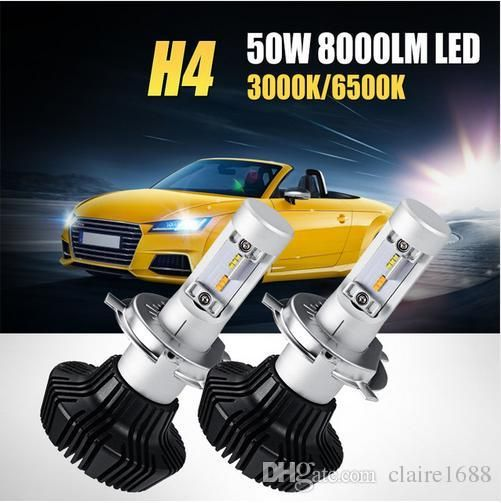 50W H4 Hi-Lo Beam LED Car Headlight Bulb Yellow Light 3000K White Light 6500K 8000lm CSP Chips Led Headlamp Fog Light - $131.99