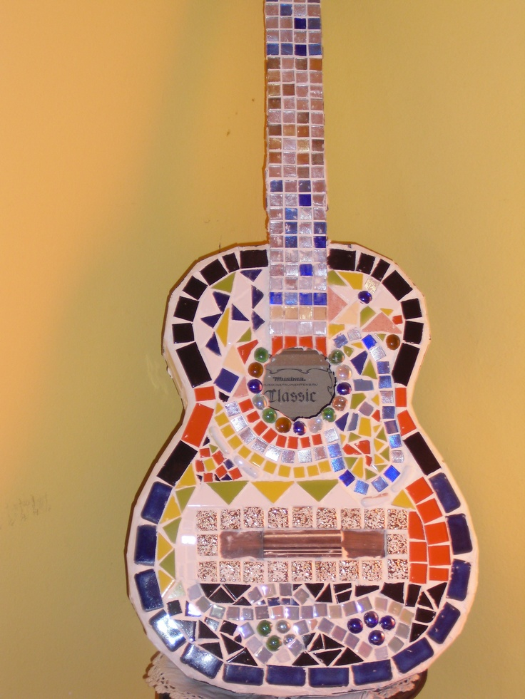 Mosaic Guitar customised with bright colours and glass tiles
