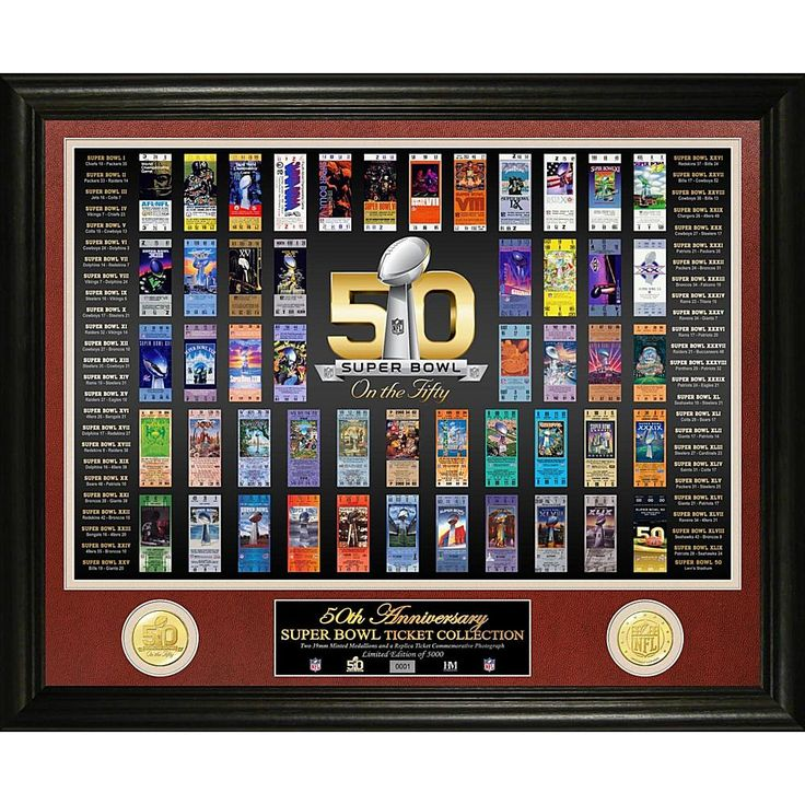 Officially Licensed NFL Super Bowl 50 Anniversary Ticket Collection Bronze Coin Photo Mint