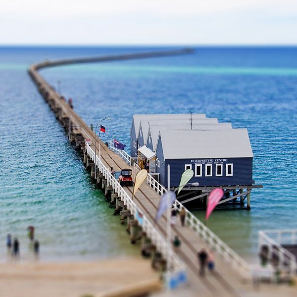 Beautiful Bussleton Pier in Western Australia is 2km long.  Me & my brother walked this one morning in 2002.