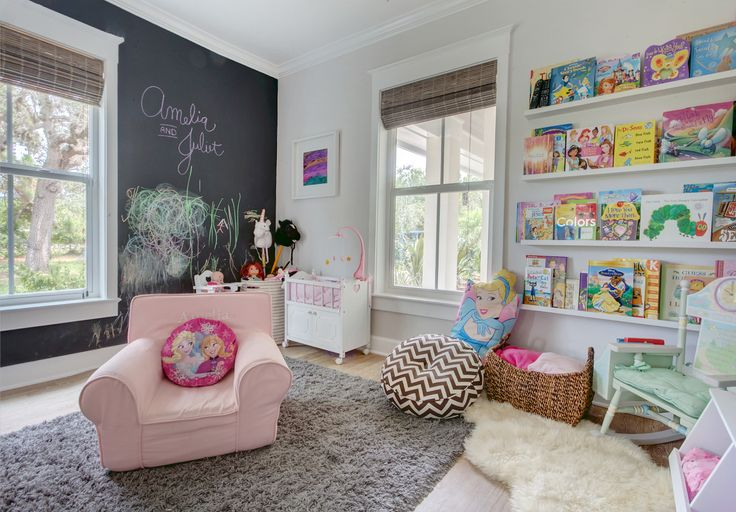 Roseland Project: Playroom with Chalkboard wall, Ikea floating bookshelves ledge, Kids room
