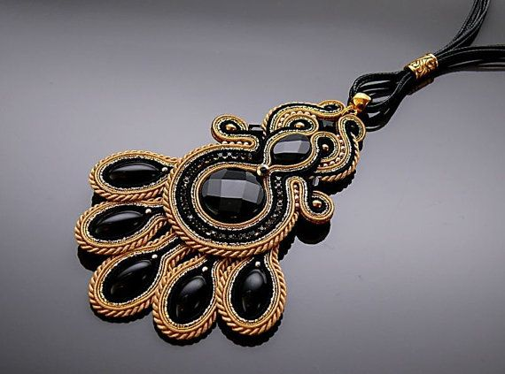 Black and gold Soutache necklace with Onyx. от ANBijou на Etsy