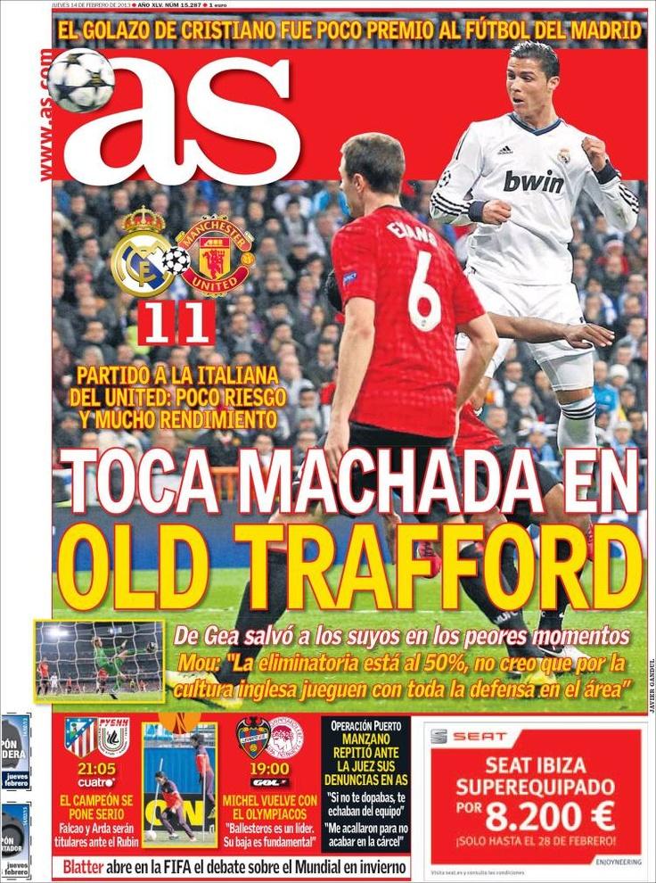 Los Titulares y Portadas de Noticias Destacadas Españolas del 14 de Febrero de 2013 del Diario Deportivo AS ¿Que le parecio esta Portada de este Diario Español?