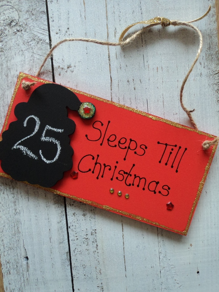 Dins Creation - Christmas Countdown Chalkboard Santa Plaque Decoration,