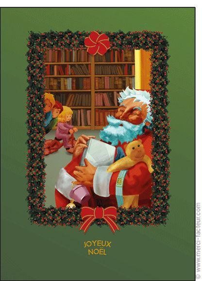 """#Carte #Noël """" #JoyeuxNoël """" Carte Le bon papa No�l sur fond vert pour envoyer par La Poste, sur Merci-Facteur !"""