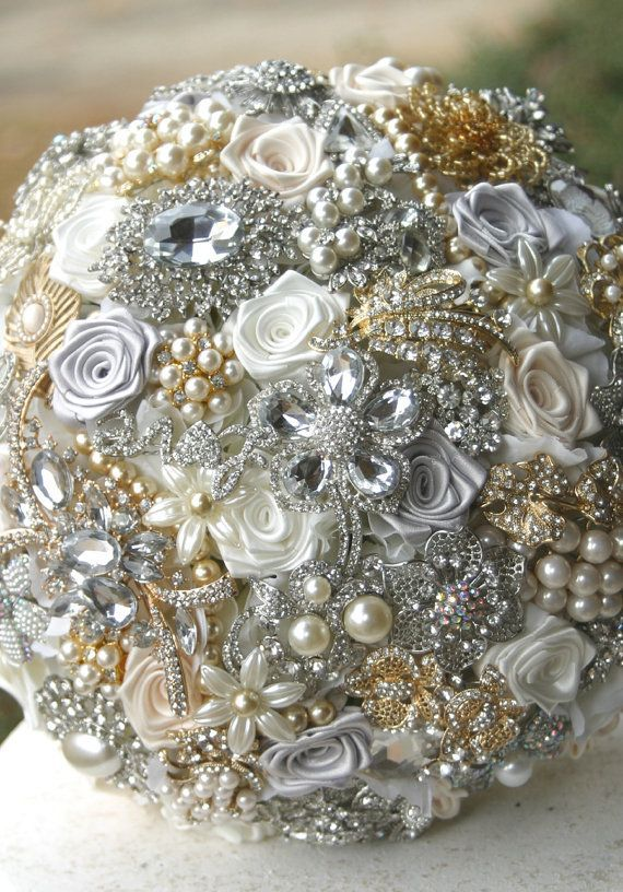 wedding brooch bouquet deposit on gold silver and by annasinclair