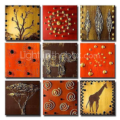 Hand-painted Animal Oil Painting with Stretched Frame - Set of 9
