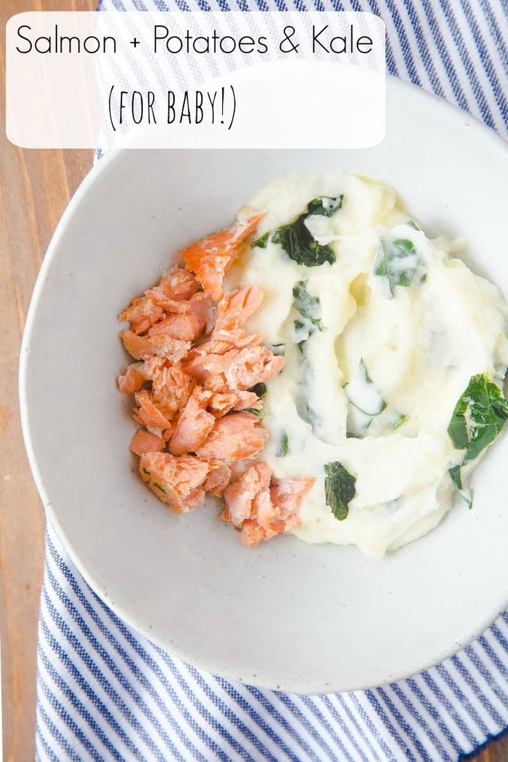 Baby food recipes & ideas | Salmon for baby! With a potato and kale puree on the side.