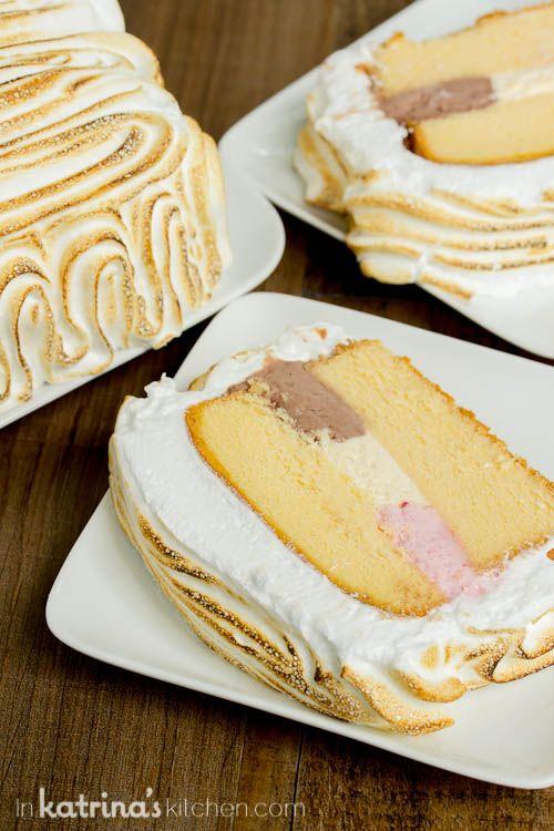 EASY Neapolitan Pound Cake Baked Alaska Recipe- uses a frozen pound cake!!