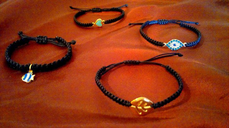 black autumn macrame bracelets
