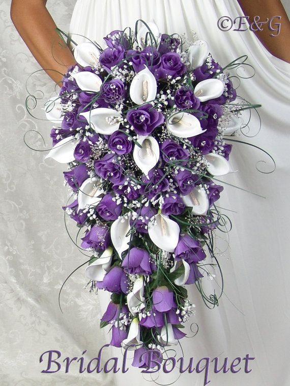 PURPLE CASCADE silk flowers babies breath roses calla lilies ivy bouquets bow ribbon satin stephanotis, pearls, blossoms, rosebuds, diamond