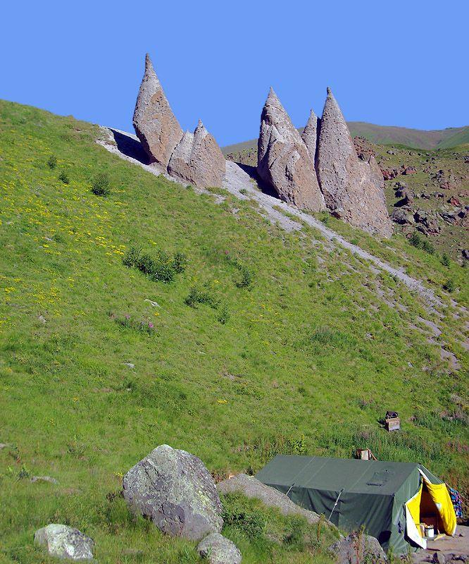 "Natural Sculptural Group ""Mountaineers"" - Elbrus, Kabard-Balkaria. - Russia"