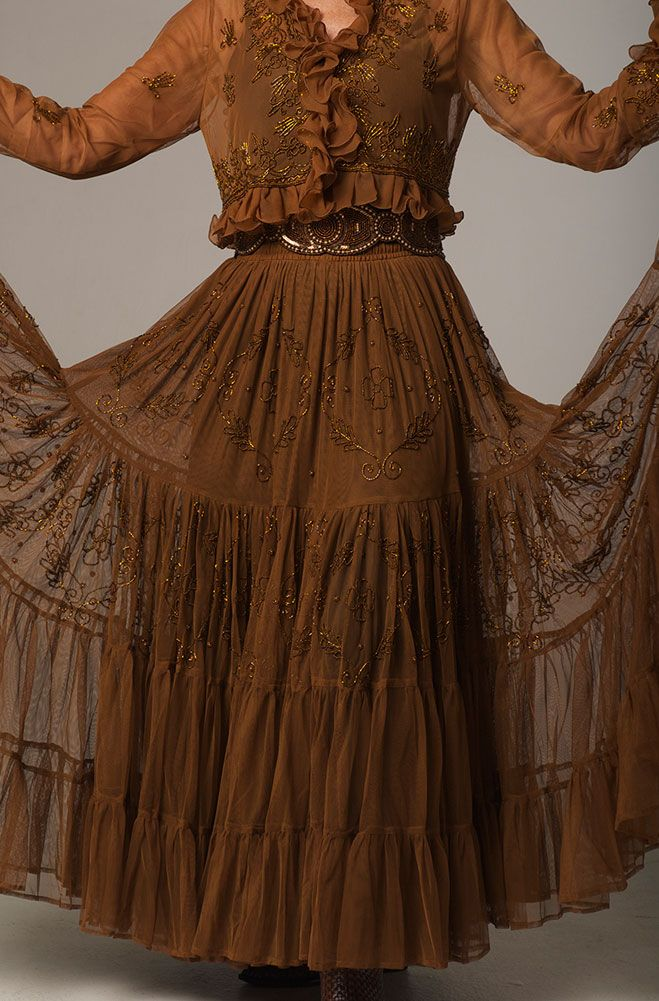 women's western wear clothing images | Copper Color Beaded Skirt