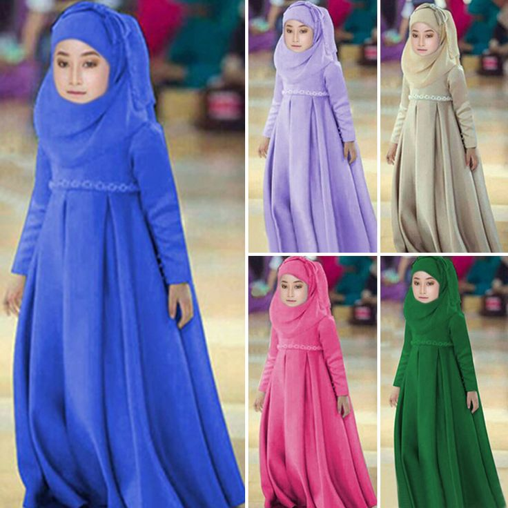 Men Muslim Thobes Muslim Thobes Sale Islamic Mens Abaya Fashionable New Selling Children's Girls Dress + Scarf Bow Long Skirt