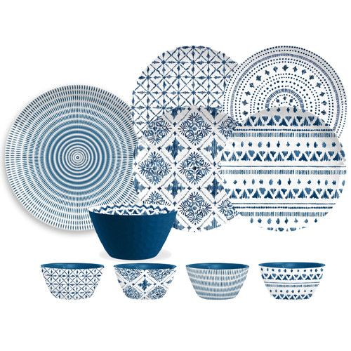 TarHong Indochine Ikat 16 Piece Melamine Dinnerware Set