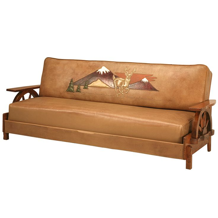 """Fantastic Original Cowboy """"Ranch Oak"""" Sofa w/Wagon Wheels & Mountains   From a unique collection of antique and modern sofas at https://www.1stdibs.com/furniture/seating/sofas/"""