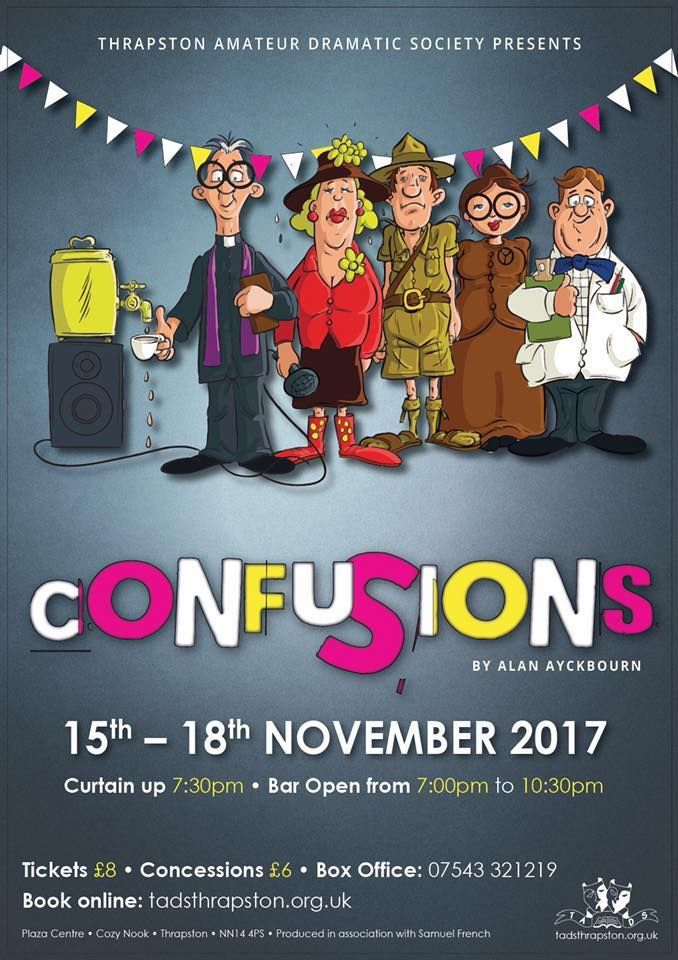 Preparations for this Autumn's production are well underway with final dress rehearsals and finishing touches being made to the set and costumes over the coming weeks.  Alan Ayckbourn's comedy Confusions is a set of four interlinked plays